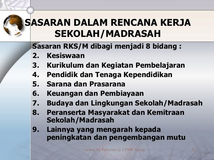 SASARAN DALAM RENCANA KERJA SEKOLAH/MADRASAH <ul><li>Sasaran RKS/M dibagi menjadi 8 bidang : </li></ul><ul><li>Kesiswaan <...