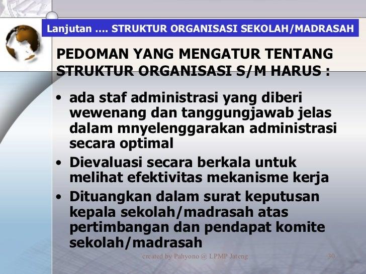 Lanjutan …. STRUKTUR ORGANISASI SEKOLAH/MADRASAH <ul><li>ada staf administrasi yang diberi wewenang dan tanggungjawab jela...