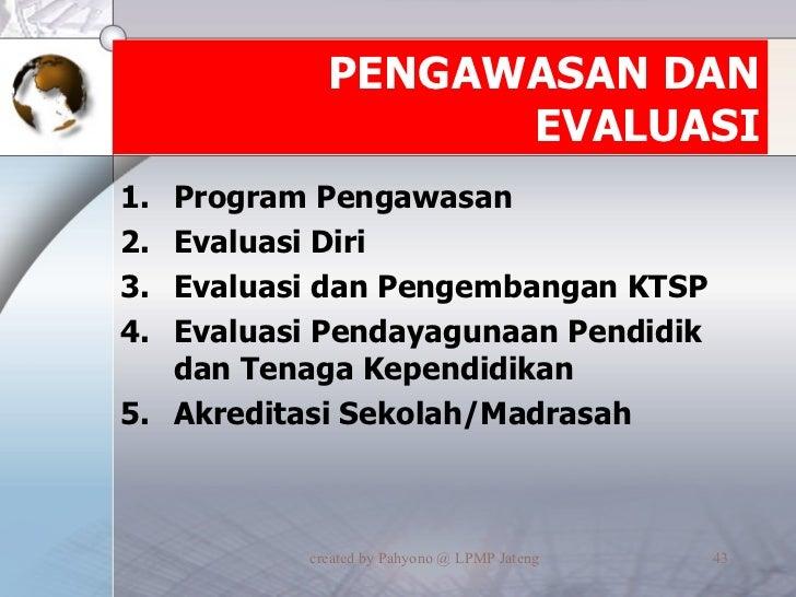 PENGAWASAN DAN EVALUASI <ul><li>Program Pengawasan </li></ul><ul><li>Evaluasi Diri </li></ul><ul><li>Evaluasi dan Pengemba...