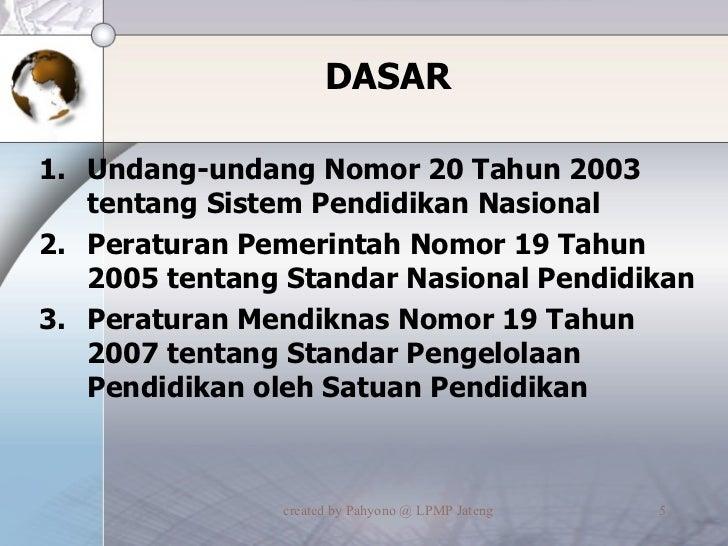 DASAR <ul><li>Undang-undang Nomor 20 Tahun 2003 tentang Sistem Pendidikan Nasional  </li></ul><ul><li>Peraturan Pemerintah...