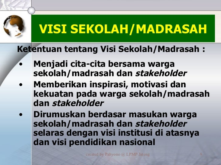 VISI SEKOLAH/MADRASAH <ul><li>Menjadi cita-cita bersama warga sekolah/madrasah dan  stakeholder </li></ul><ul><li>Memberik...