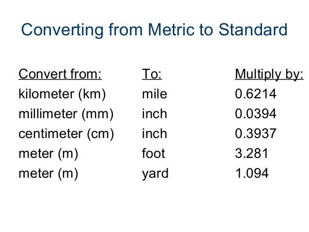 Metric To Standard >> Standard And Metric Measurement Power Point