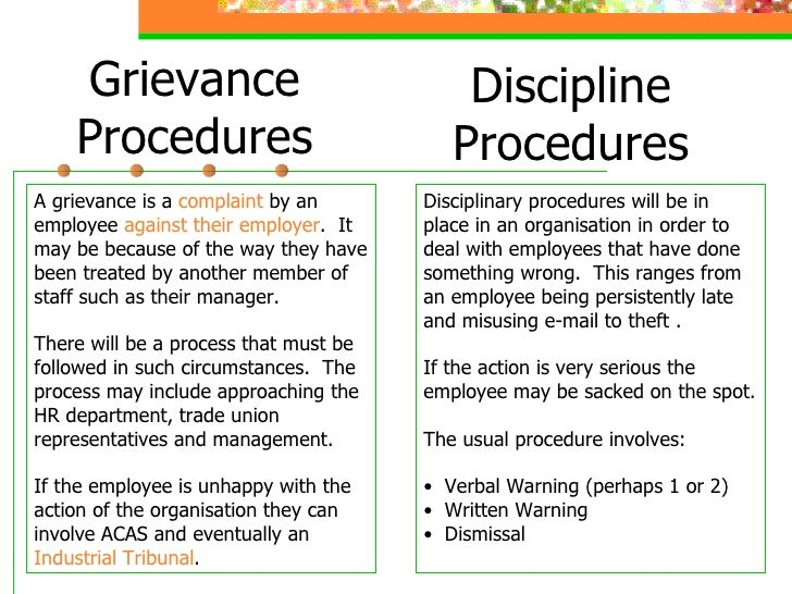 grievance and disciplinary procedure What are disciplinary and grievance procedures disciplinary and grievance procedures are frameworks which provide clear and transparent structures for dealing with difficulties which may arise as part of the working relationship from either the employer's or employees' perspective they are necessary to ensure that.