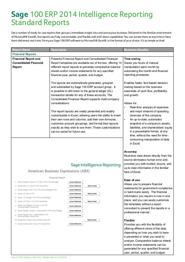 simple financial report format