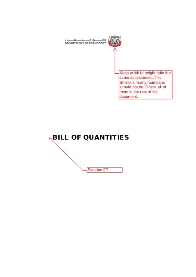 standard bill of quantities