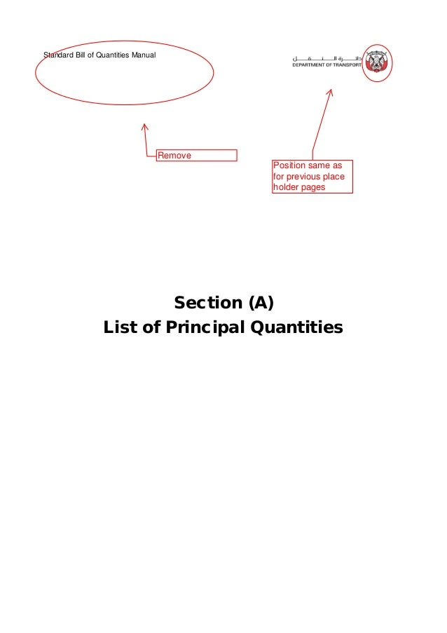 Standard Bill of Quantities Manual 4 of 12 . BILL SECTION - A PAGE ITEM DESCRIPTION QUANTITY UNIT PROJECT :- Section (A) -...