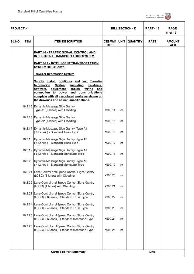 Standard bill of quantities