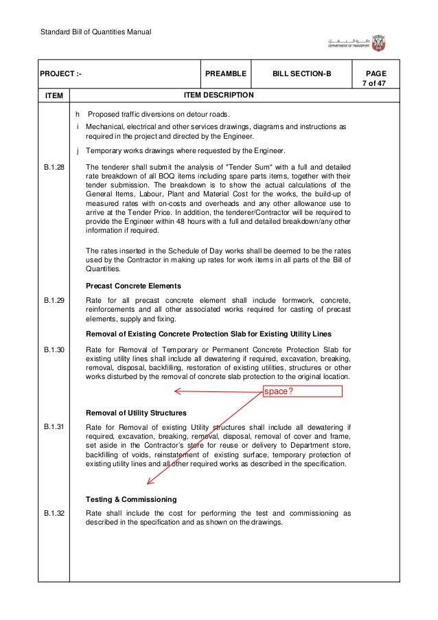 Standard Bill of Quantities Manual 13 of 47 . ITEM PAGEBILL SECTION-BPREAMBLEPROJECT :- ITEM DESCRIPTION B.1.78 B.1.79 B.1...