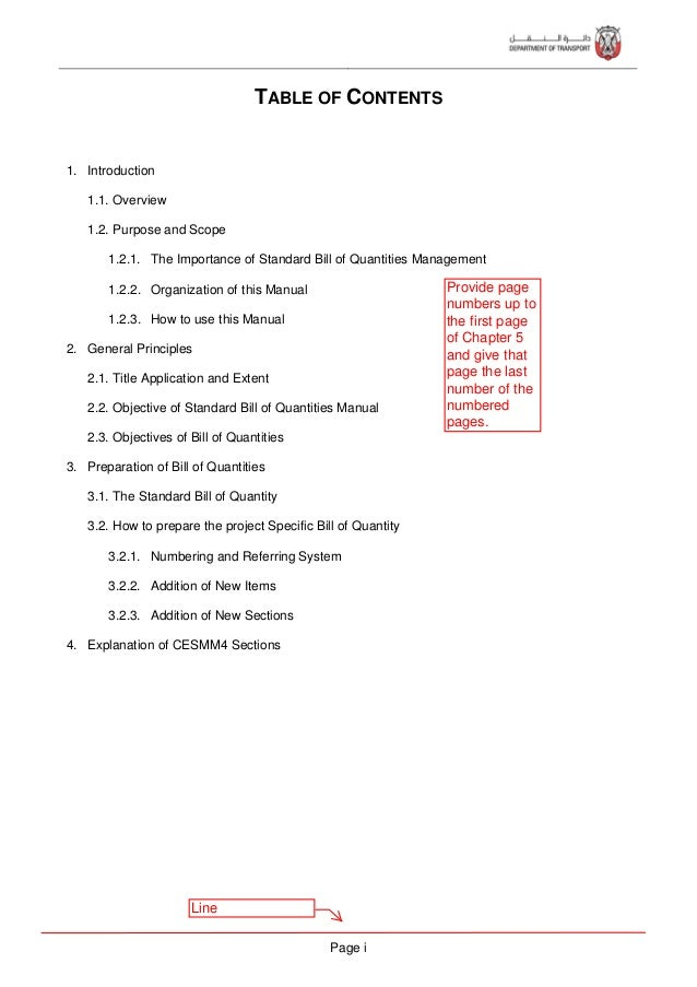 Page ii 5. Work Classification Sections Section (A) List of Principal Quantities Section (B) Preamble Section (C) Day work...