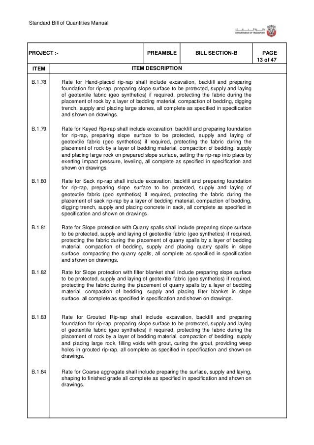 Standard Bill of Quantities Manual 19 of 47 . ITEM PAGEBILL SECTION-BPREAMBLEPROJECT :- ITEM DESCRIPTION LED Luminaires B....