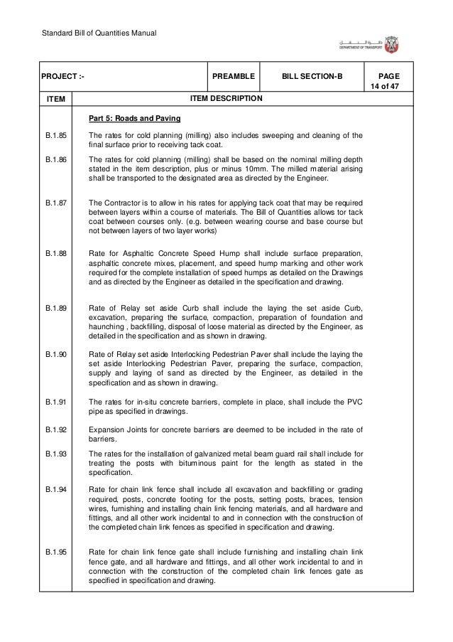 Standard Bill of Quantities Manual 20 of 47 . ITEM PAGEBILL SECTION-BPREAMBLEPROJECT :- ITEM DESCRIPTION B.1.147 B.1.148 B...