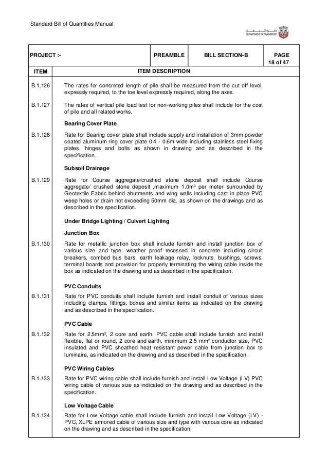 Standard Bill of Quantities Manual 24 of 47 . ITEM PAGEBILL SECTION-BPREAMBLEPROJECT :- ITEM DESCRIPTION Pre - Commissioni...