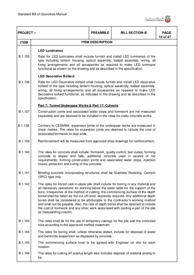 Standard Bill of Quantities Manual 25 of 47 . ITEM PAGEBILL SECTION-BPREAMBLEPROJECT :- ITEM DESCRIPTION PABX B.1.183 B.1....