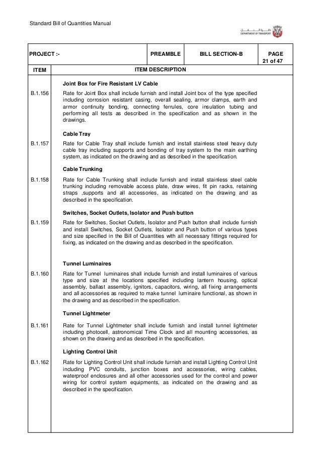 Standard Bill of Quantities Manual 27 of 47 . ITEM PAGEBILL SECTION-BPREAMBLEPROJECT :- ITEM DESCRIPTION B.1.199 B.1.200 B...