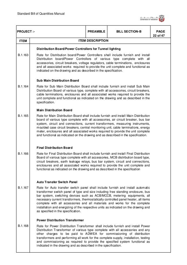 Standard Bill of Quantities Manual 28 of 47 . ITEM PAGEBILL SECTION-BPREAMBLEPROJECT :- ITEM DESCRIPTION B.1.205 B.1.206 B...