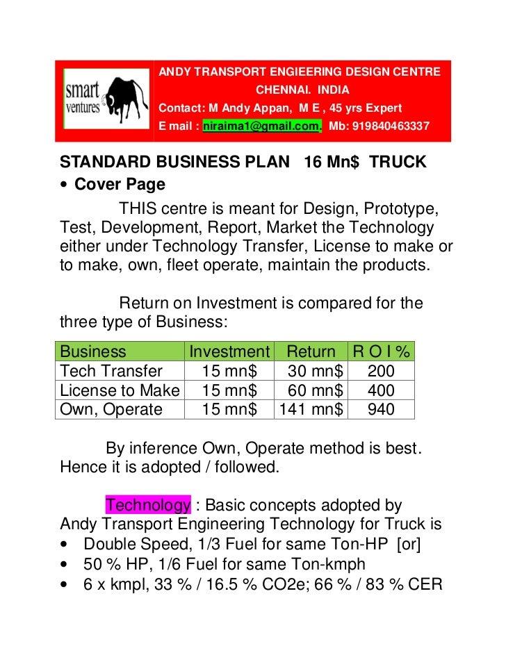 standard business plan 16 mn truck