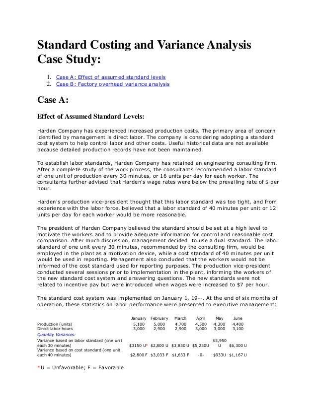 Standard Costing And Variance Analysis Case Study