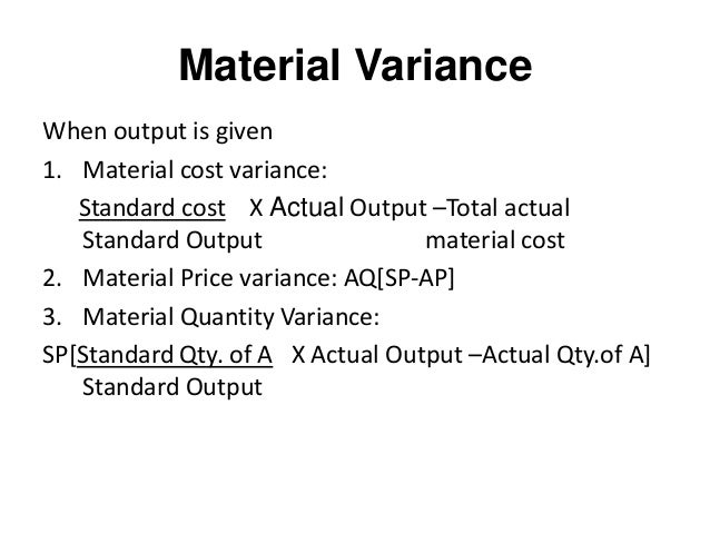 Standard costs and variance analysis