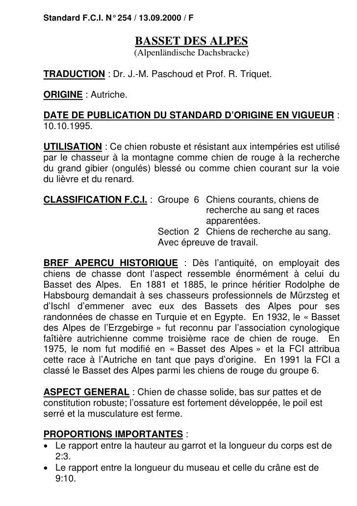 Standard F.C.I. N° 254 / 13.09.2000 / F                       BASSET DES ALPES                       (Alpenländische Dachs...
