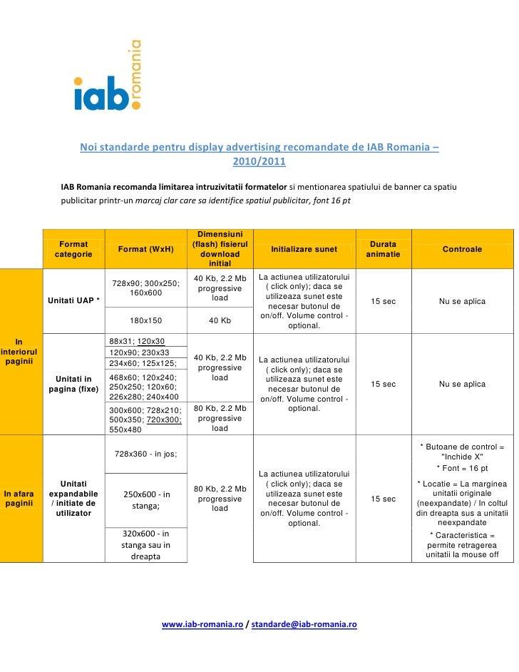 Noi standarde pentru display advertising recomandate de IAB Romania –                                                   20...