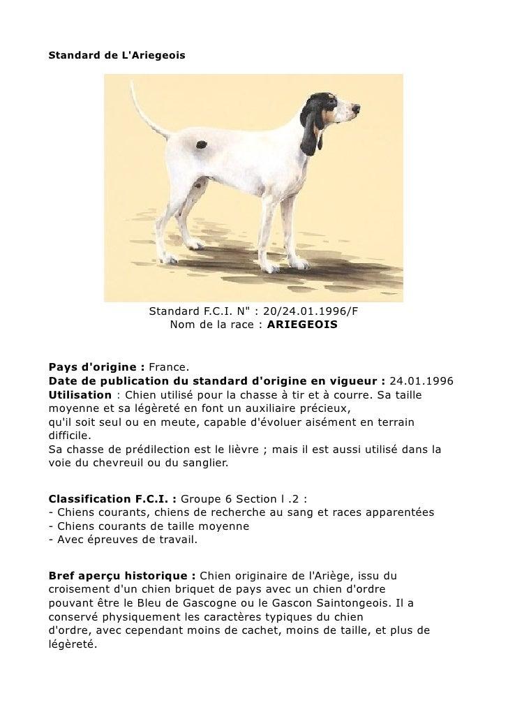 "Standard de LAriegeois                  Standard F.C.I. N"" : 20/24.01.1996/F                     Nom de la race : ARIEGEOI..."