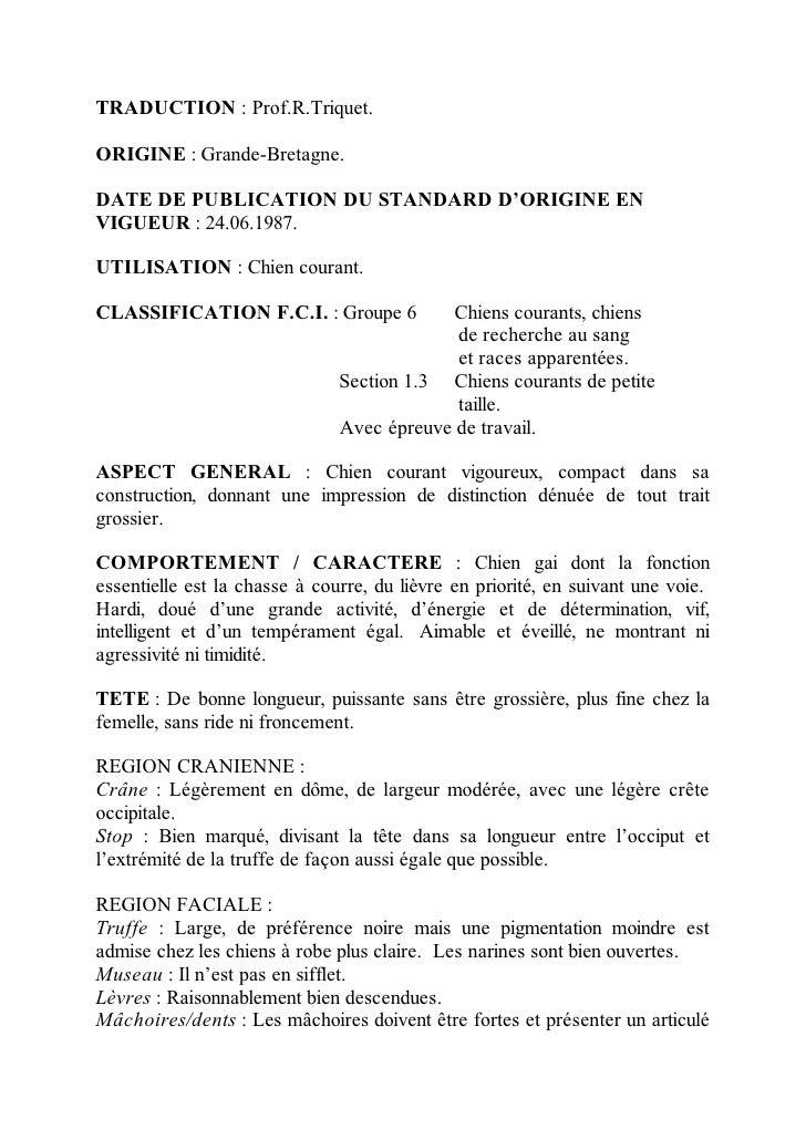 TRADUCTION : Prof.R.Triquet.ORIGINE : Grande-Bretagne.DATE DE PUBLICATION DU STANDARD D'ORIGINE ENVIGUEUR : 24.06.1987.UTI...