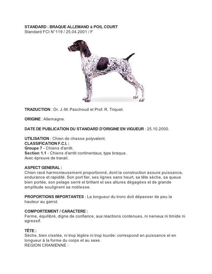 STANDARD : BRAQUE ALLEMAND à POIL COURTStandard FCI N°119 / 25.04.2001 / FTRADUCTION : Dr. J.-M. Paschoud et Prof. R. Triq...