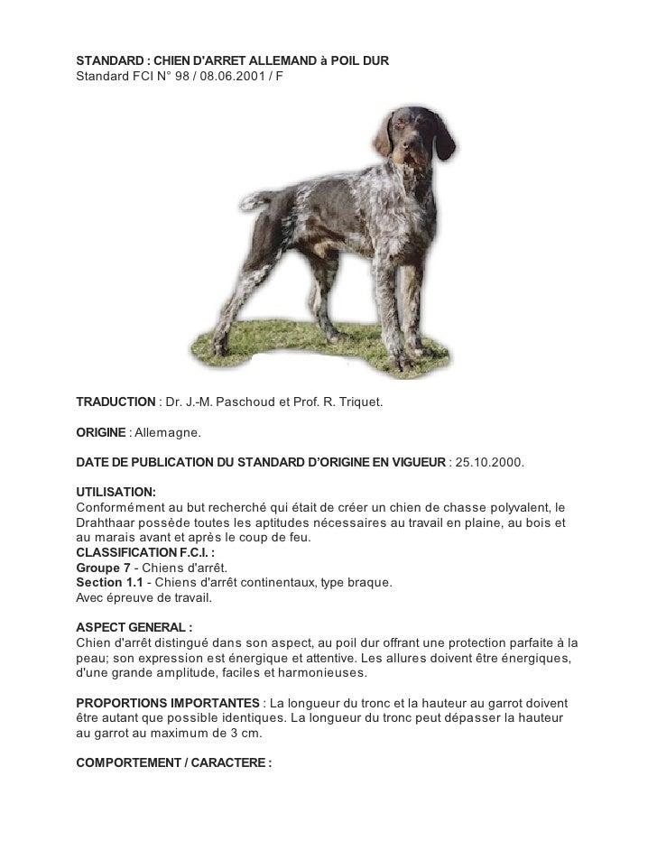 STANDARD : CHIEN DARRET ALLEMAND à POIL DURStandard FCI N° 98 / 08.06.2001 / FTRADUCTION : Dr. J.-M. Paschoud et Prof. R. ...