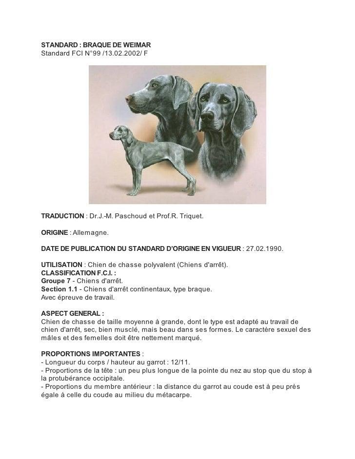 STANDARD : BRAQUE DE WEIMARStandard FCI N°99 /13.02.2002/ FTRADUCTION : Dr.J.-M. Paschoud et Prof.R. Triquet.ORIGINE : All...