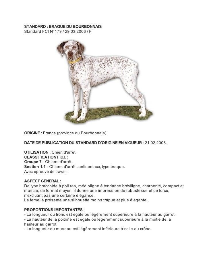 STANDARD : BRAQUE DU BOURBONNAISStandard FCI N°179 / 29.03.2006 / FORIGINE : France (province du Bourbonnais).DATE DE PUBL...