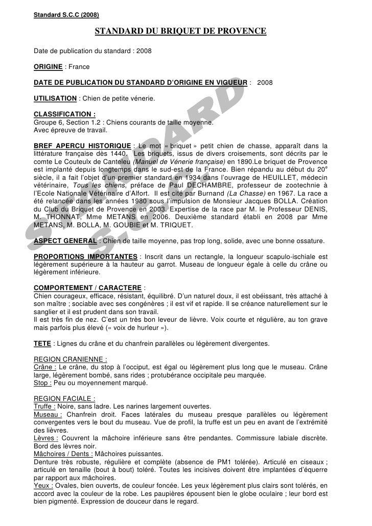 Standard S.C.C (2008)                    STANDARD DU BRIQUET DE PROVENCEDate de publication du standard : 2008ORIGINE : Fr...