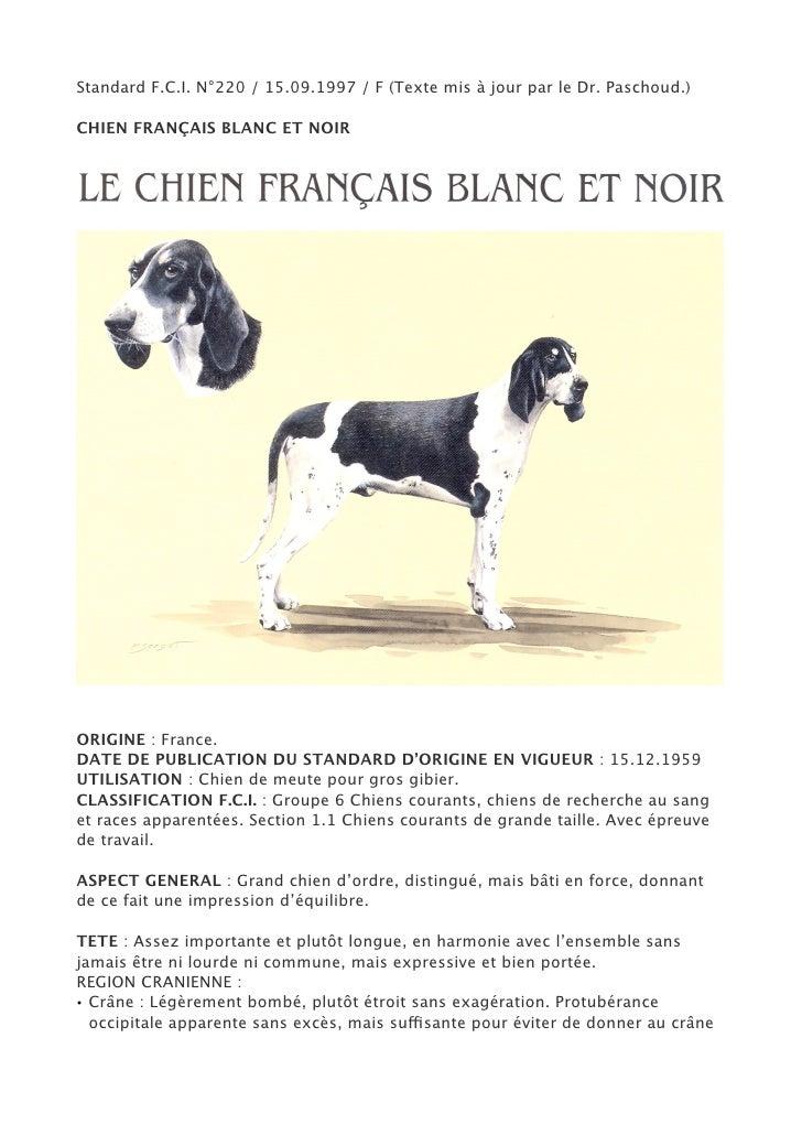 Standard F.C.I. N°220 / 15.09.1997 / F (Texte mis à jour par le Dr. Paschoud.)CHIEN FRANÇAIS BLANC ET NOIRORIGINE : France...