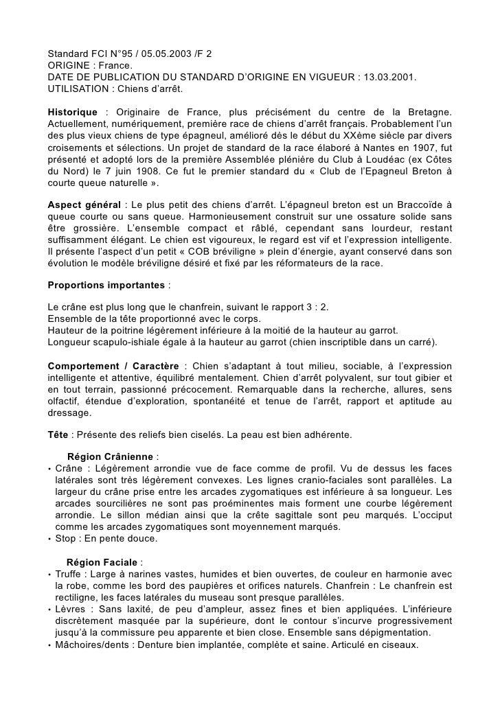 Standard FCI N°95 / 05.05.2003 /F 2ORIGINE : France.DATE DE PUBLICATION DU STANDARD D'ORIGINE EN VIGUEUR : 13.03.2001.UTIL...