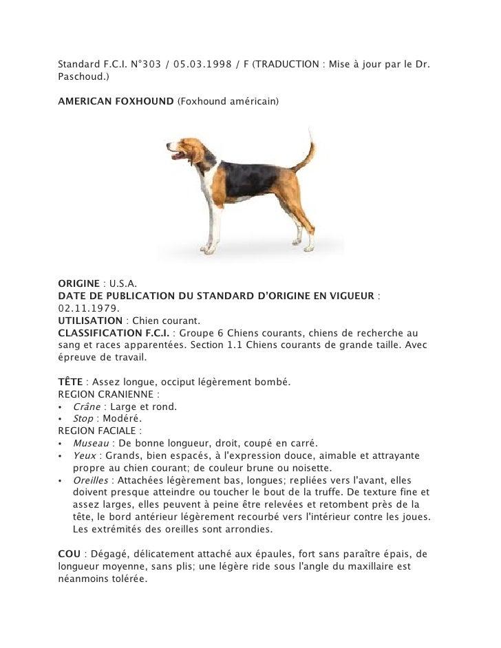 Standard F.C.I. N°303 / 05.03.1998 / F (TRADUCTION : Mise à jour par le Dr.Paschoud.)AMERICAN FOXHOUND (Foxhound américain...