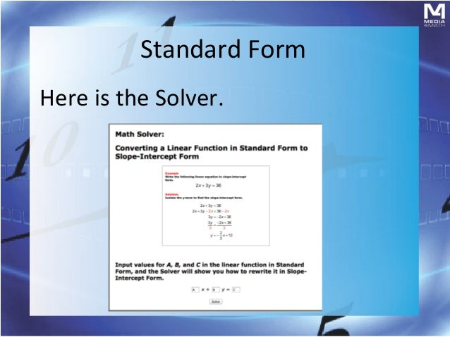 Brief Review: Linear Equations in Standard Form