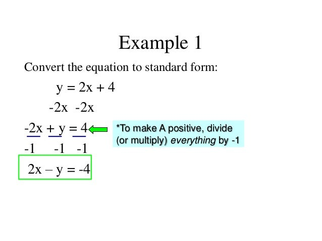 Standard Form Solve Equations