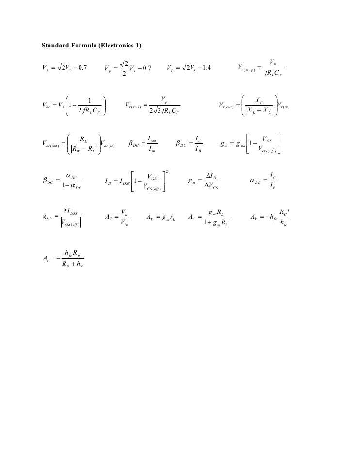 Standard Formula (Electronics 1)                                        2                                                 ...