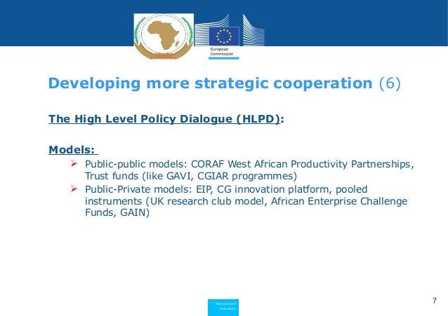 Research and Innovation The High Level Policy Dialogue (HLPD): Models:  Public-public models: CORAF West African Producti...