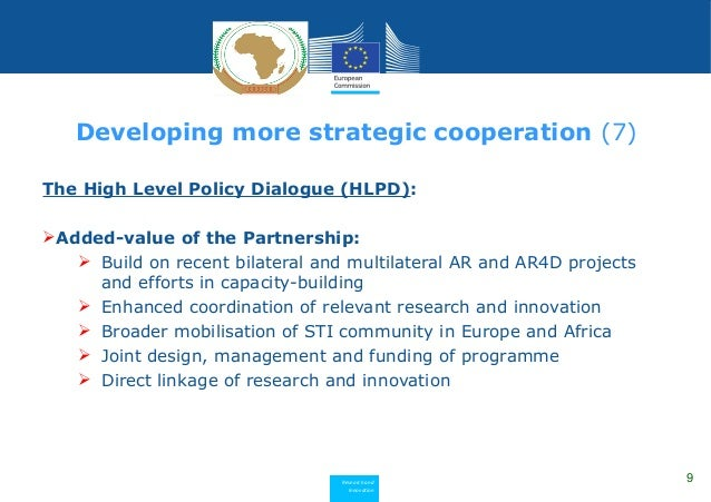 Research and Innovation The High Level Policy Dialogue (HLPD): Added-value of the Partnership:  Build on recent bilatera...