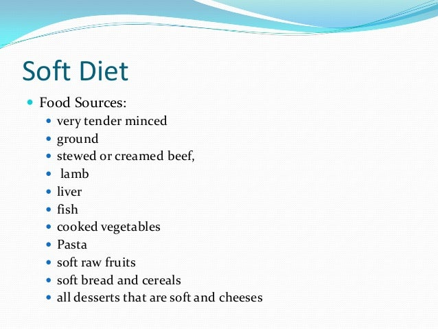 Different types of diets for patients