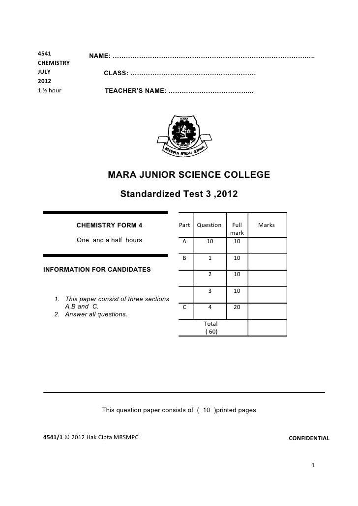 4541           NAME: ………………………………………………………………………………..CHEMISTRYJULY                CLASS: …………………………………………………20121 ½ hour  ...