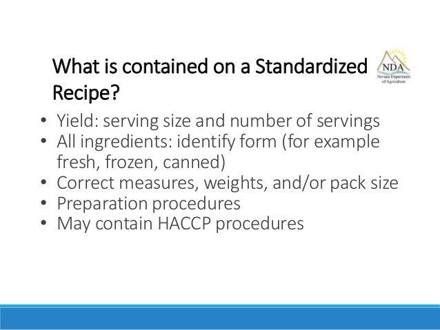 Nevada Menu Production Records Part Ii Standardized Recipes 41515
