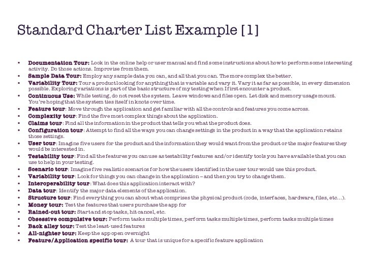 Standardized risks charters in exploratory testing for Test charter template