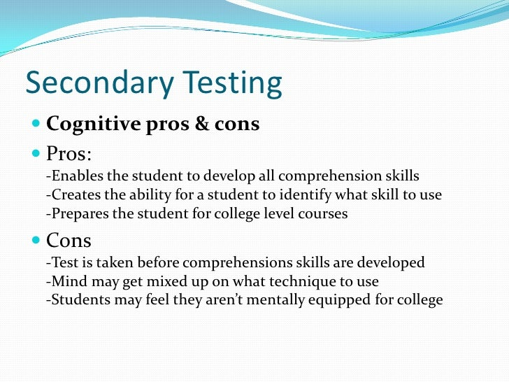 Essays on standardized testing pros and cons