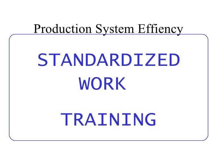 Production System Effiency STANDARDIZED WORK  TRAINING