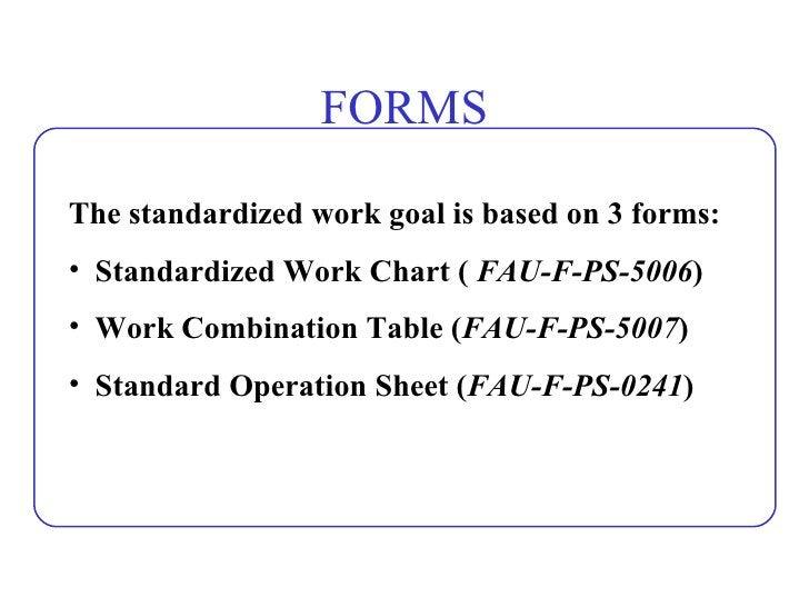 FORMS <ul><li>The standardized work goal is based on 3 forms: </li></ul><ul><li>Standardized Work Chart (  FAU-F-PS-5006 )...