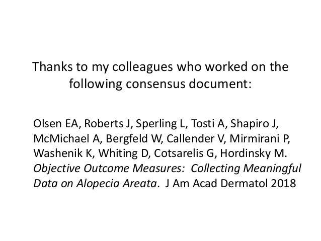 Standardizing Outcome Measures in Alopecia Areata Slide 2