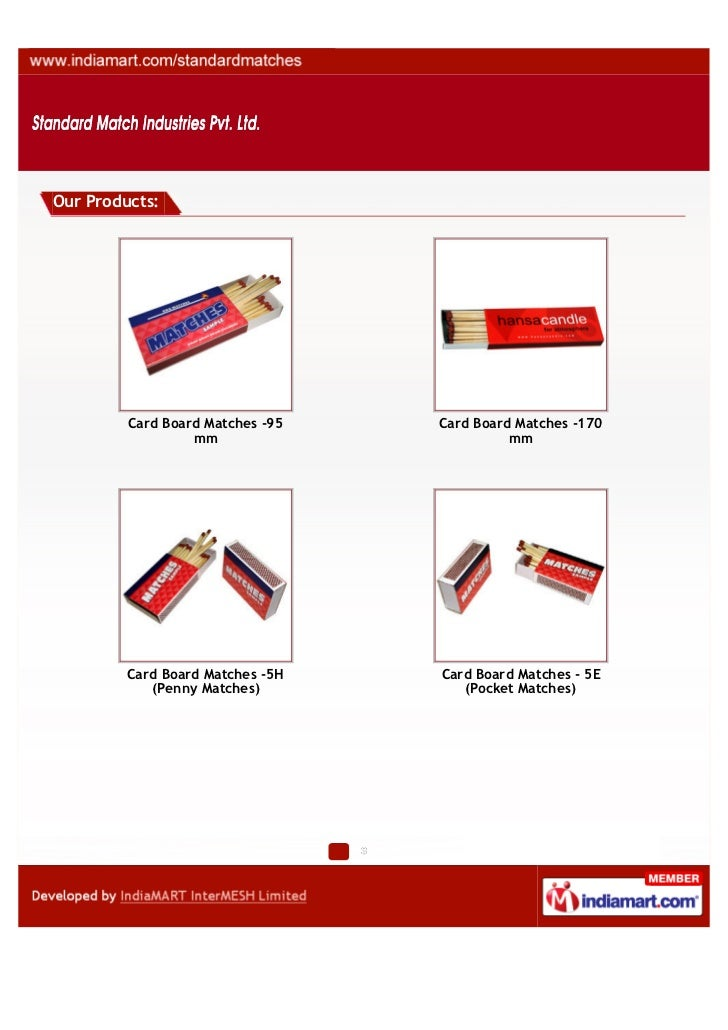 Our Products:         Card Board Matches -95   Card Board Matches -170                  mm                        mm      ...