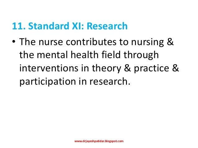 psychiatric mental health nursing standards of