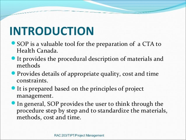 Standard Operating Procedure For Cta
